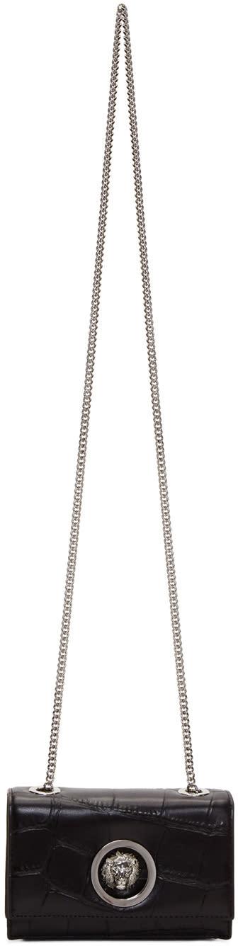 Image of Versus Black Croc Lion Chain Bag