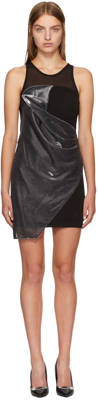 Image of Versus Black and Silver Sparkle Drape Dress