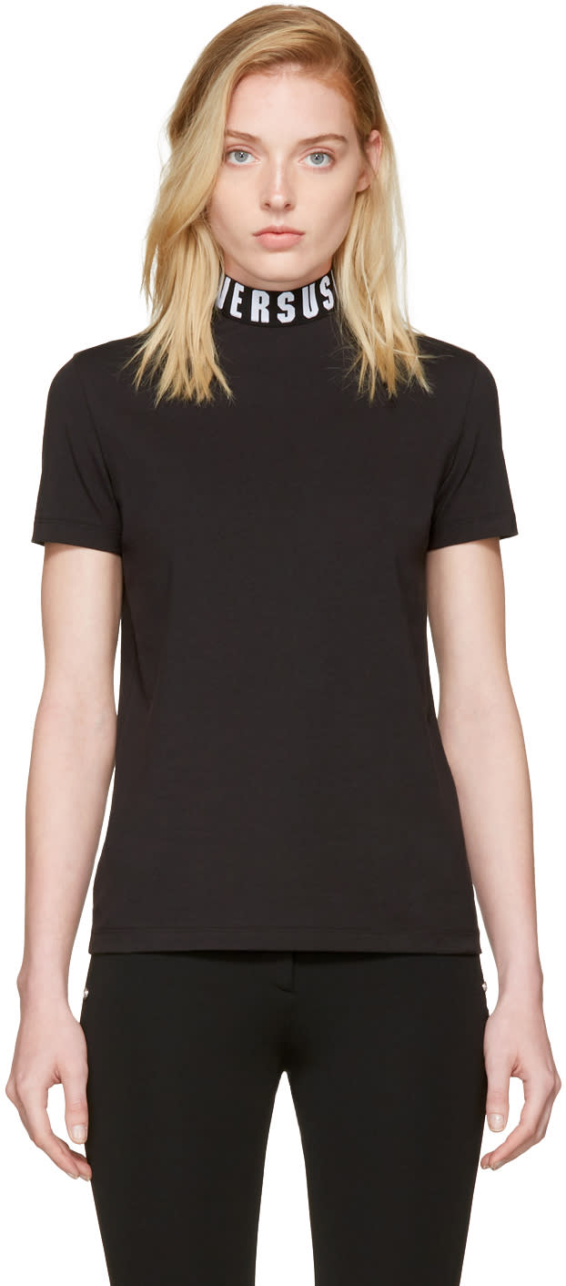 Versus Black Logo Collar T-shirt