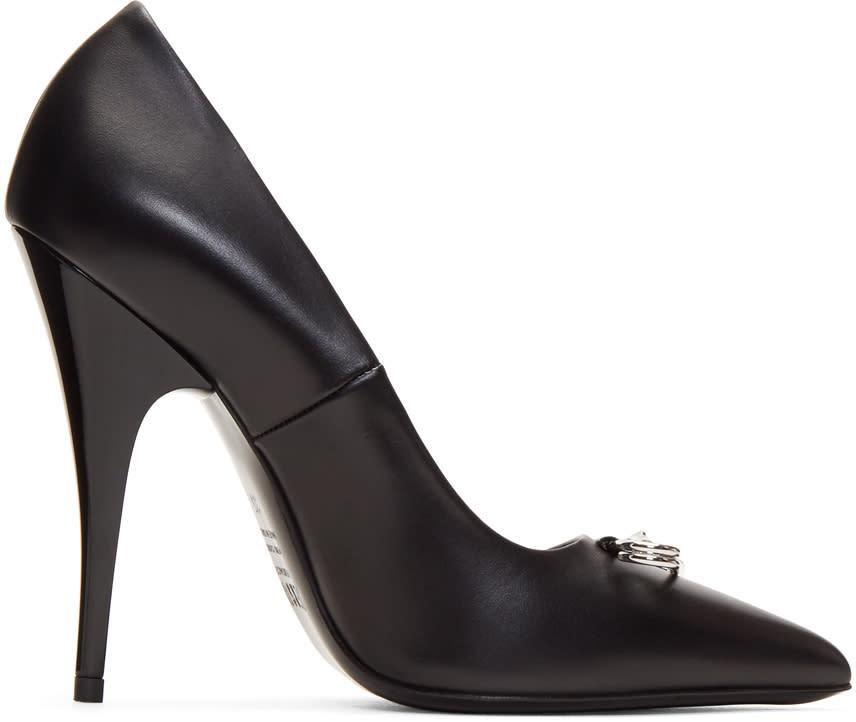 Versus Black Safety Pin Heels