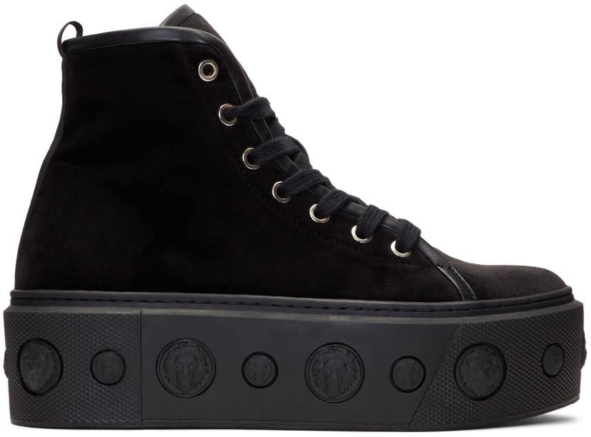 Versus Black Velvet Lion Flatform High-top Sneakers