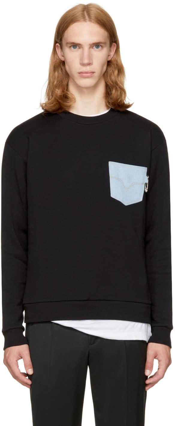 Image of Versus Black Denim Pocket Safety Pin Sweatshirt