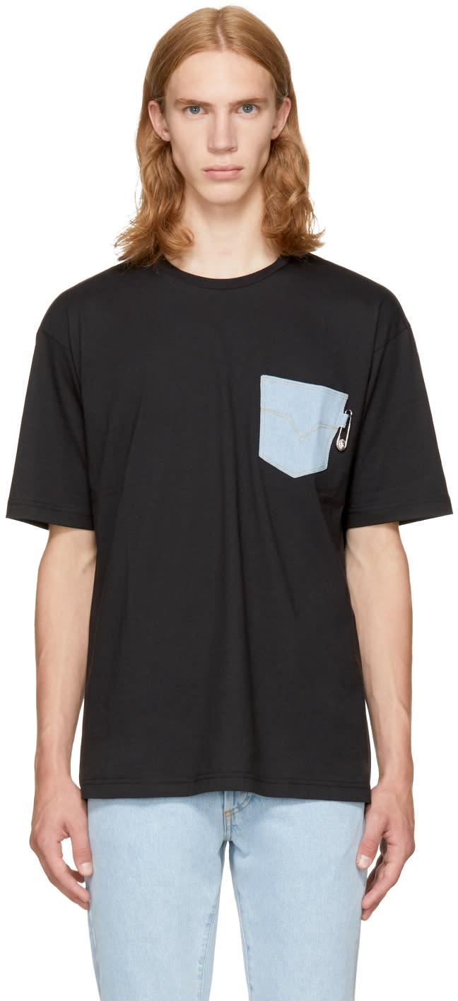 Image of Versus Black Denim Pocket T-shirt