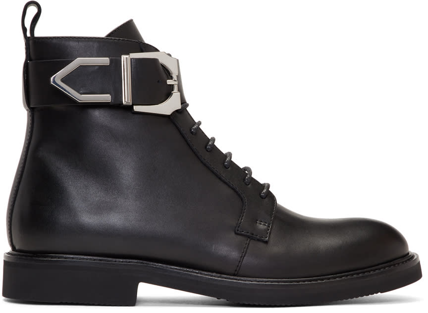 Image of Versus Black Buckle Laced Boots