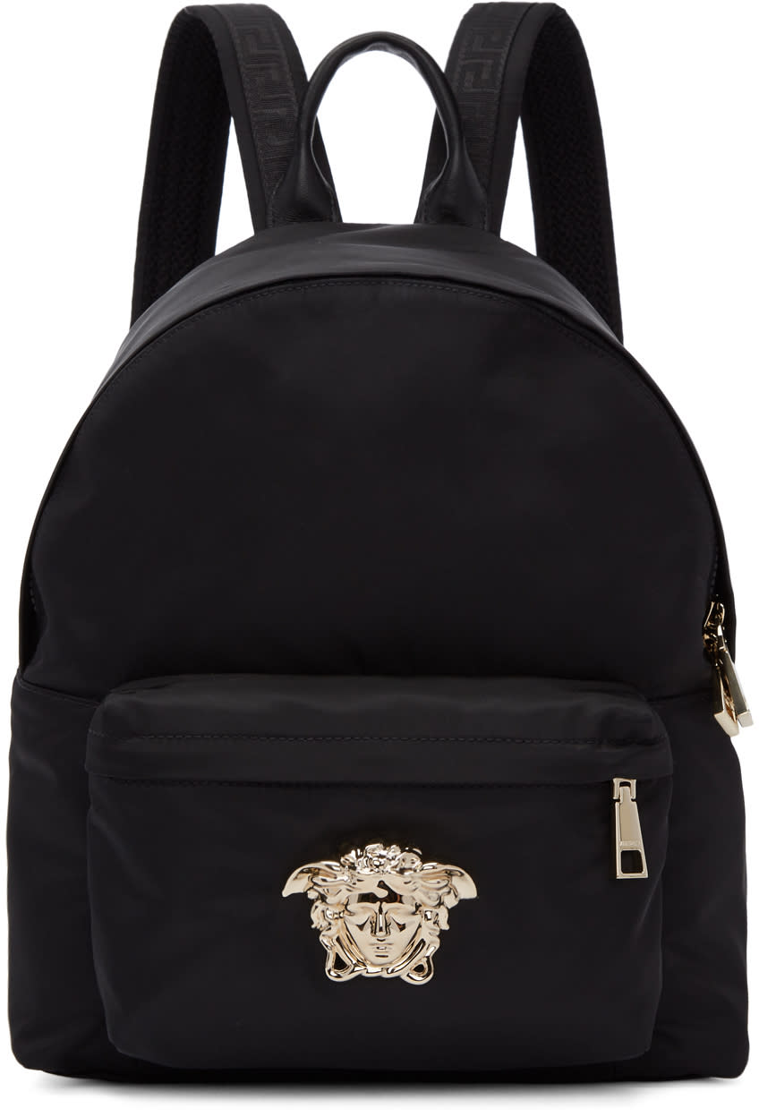 Image of Versace Black and Gold Medium Palazzo Backpack