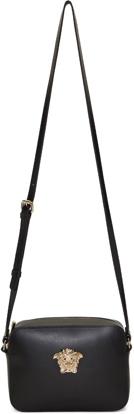 Image of Versace Black and Gold Small Palazzo Pouch Bag
