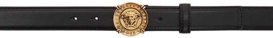 Image of Versace Black and Gold Medusa Medallion Belt