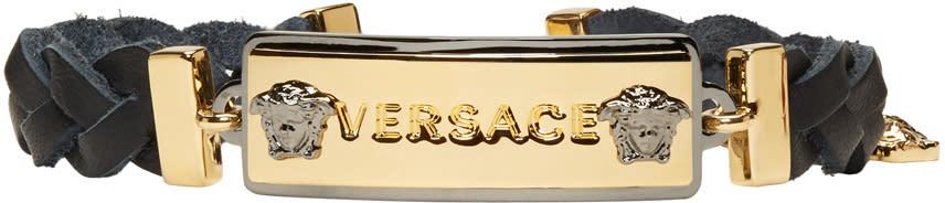 Image of Versace Black and Gold Logo Tag Bracelet