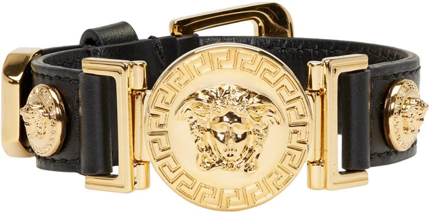 Image of Versace Black and Gold Leather Medusa Bracelet