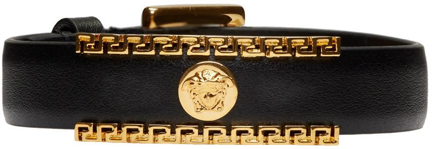 Image of Versace Black and Gold Medusa Greek Key Leather Bracelet