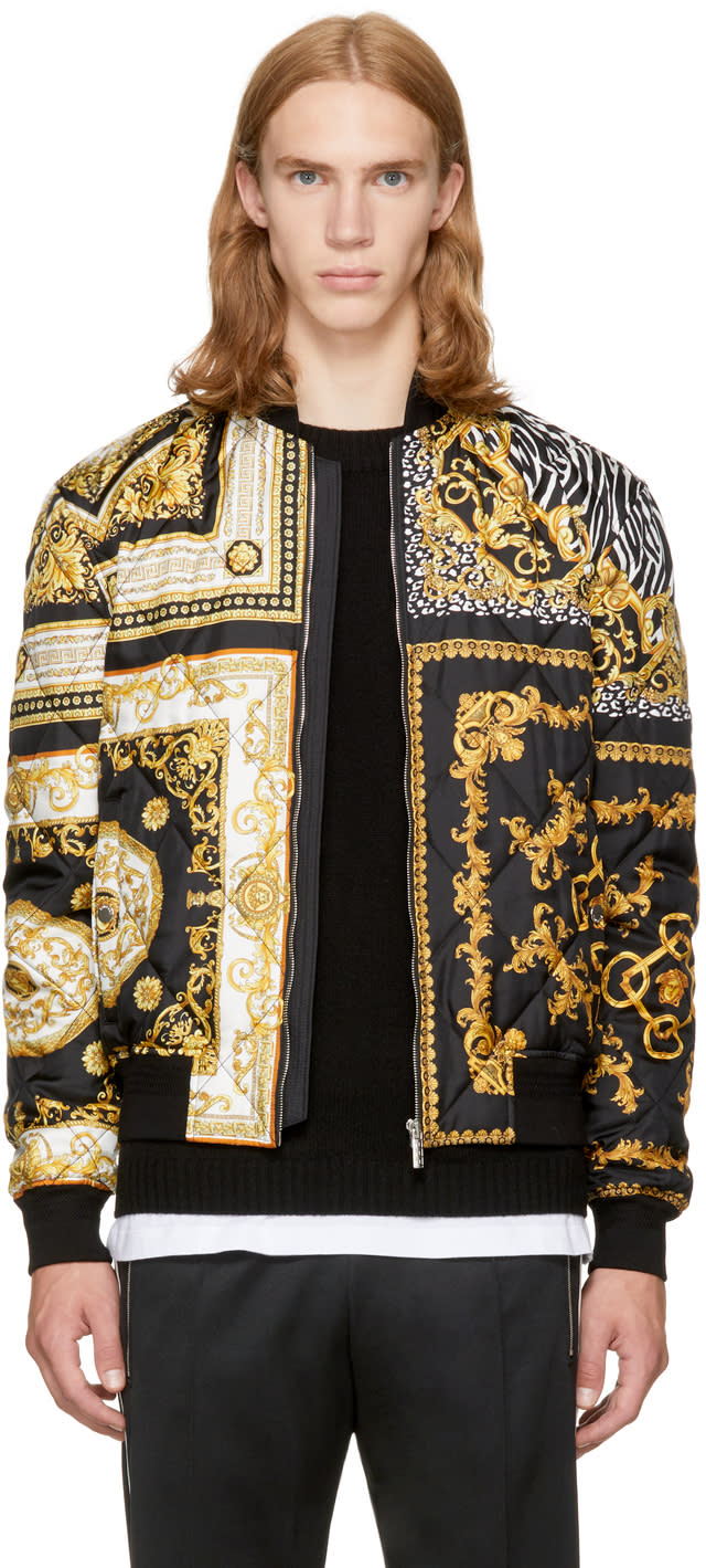 Image of Versace Black and Gold Medusa Bomber Jacket