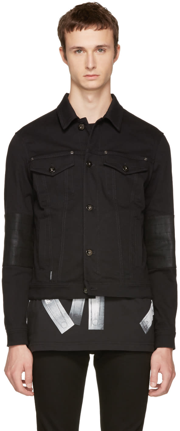 Versace ブラック デニム ロゴ ジャケット
