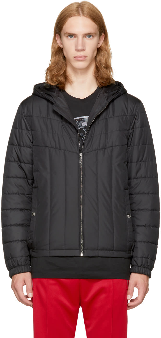 Image of Versace Black Padded Hooded Jacket