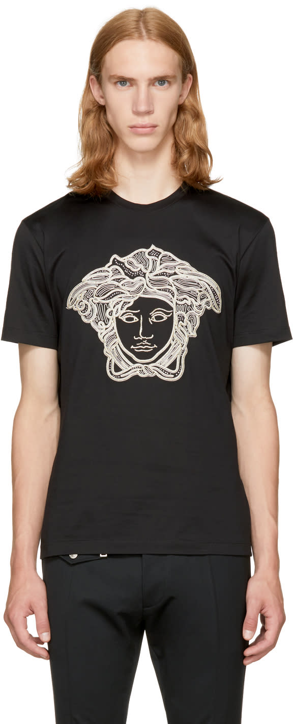 Image of Versace Black and Gold Medusa T-shirt