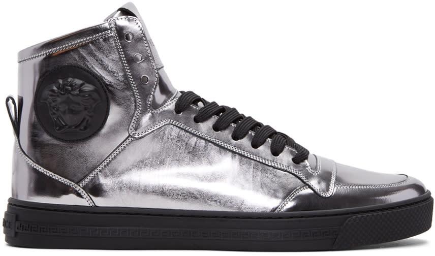 Versace Silver Medusa High-top Sneakers
