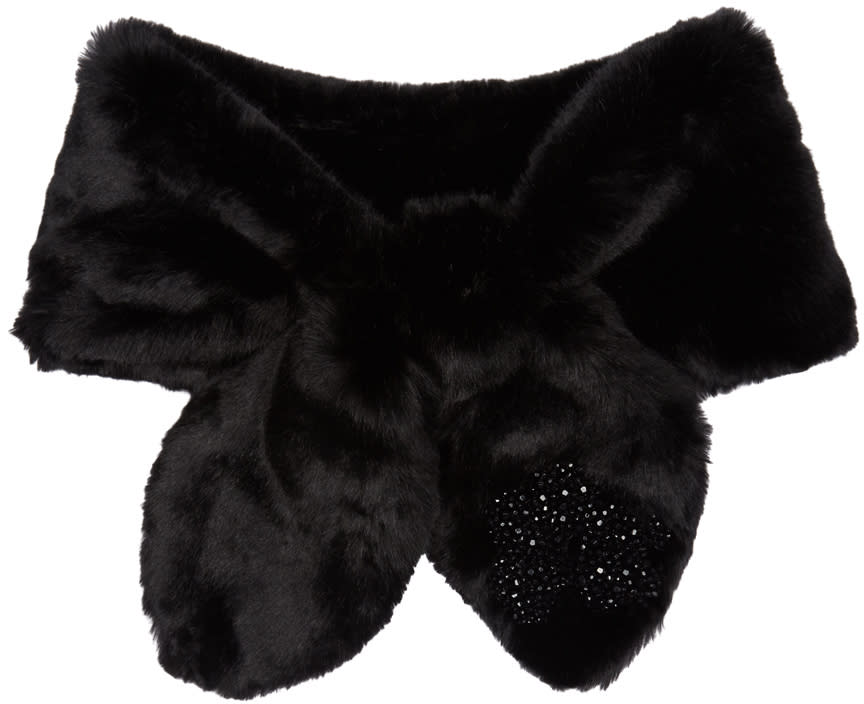Image of Simone Rocha Black Faux-fur Bow Scarf