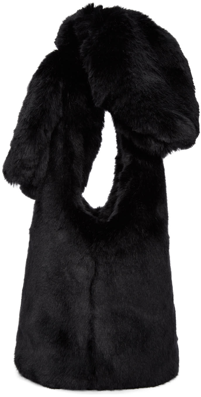 Image of Simone Rocha Black Faux-fur Little Bow Bag