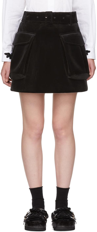 Image of Simone Rocha Black Cargo Pocket Miniskirt
