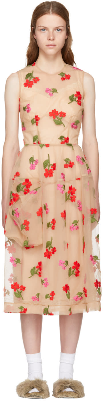 Image of Simone Rocha Beige Floral Tulle Bell Dress