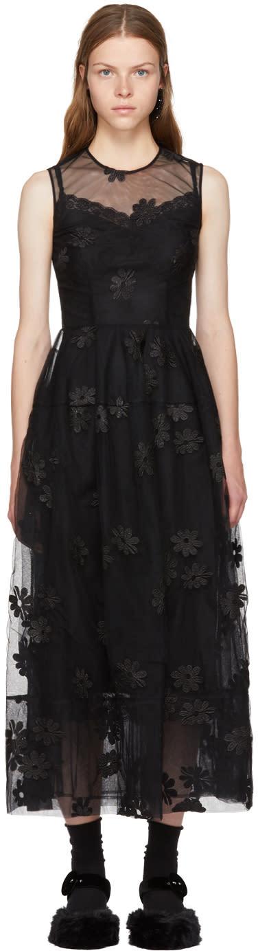 Image of Simone Rocha Black Floral Tulle Bell Dress
