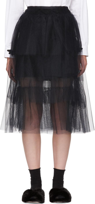 Image of Simone Rocha Black Full Frill Net Skirt
