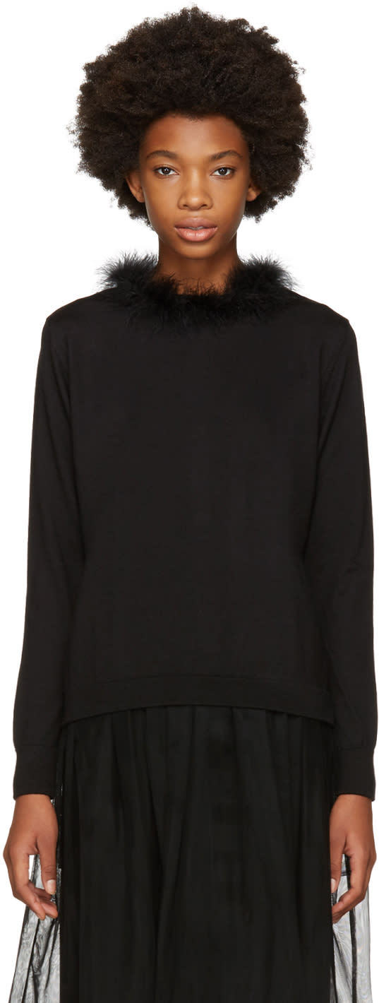 Image of Simone Rocha Black Marabou Sweater