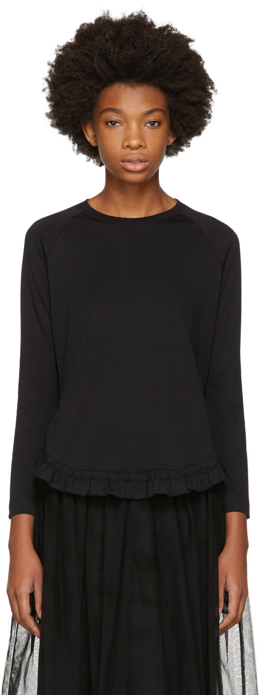 Image of Simone Rocha Black Long Sleeve Smock Ruffle T-shirt