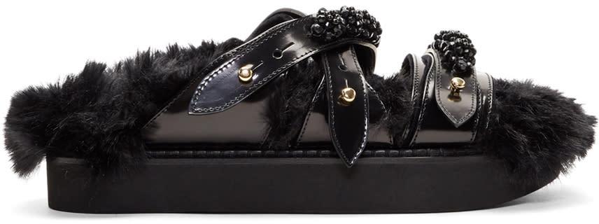 Image of Simone Rocha Black Beaded Strappy Sandals