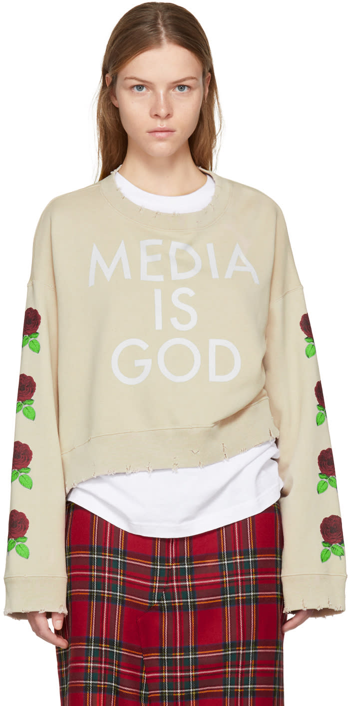 Image of Undercover Beige Cropped media Is God Sweatshirt