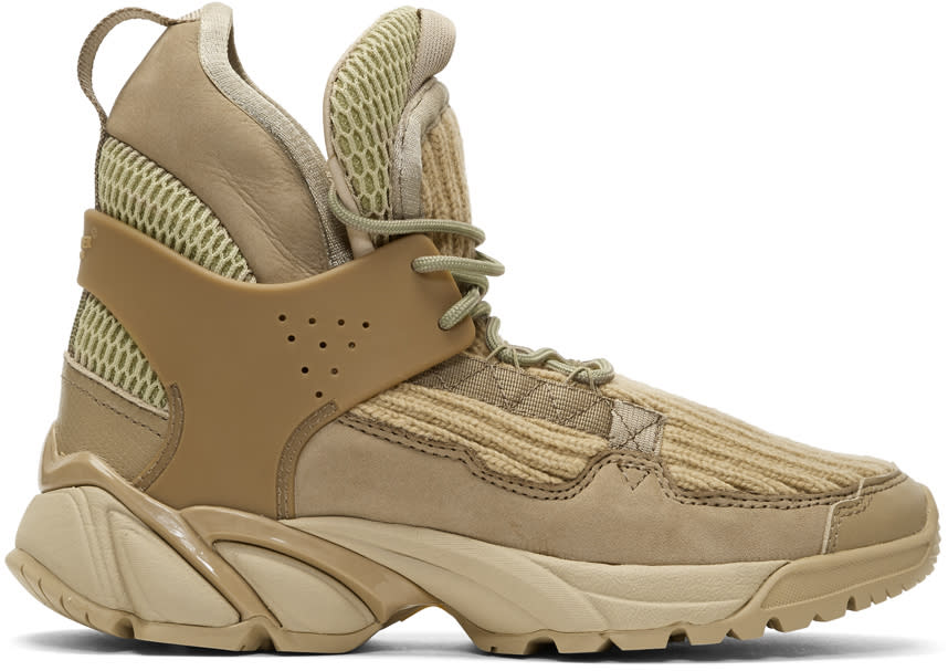 Image of Undercover Beige Knit High-top Sneakers