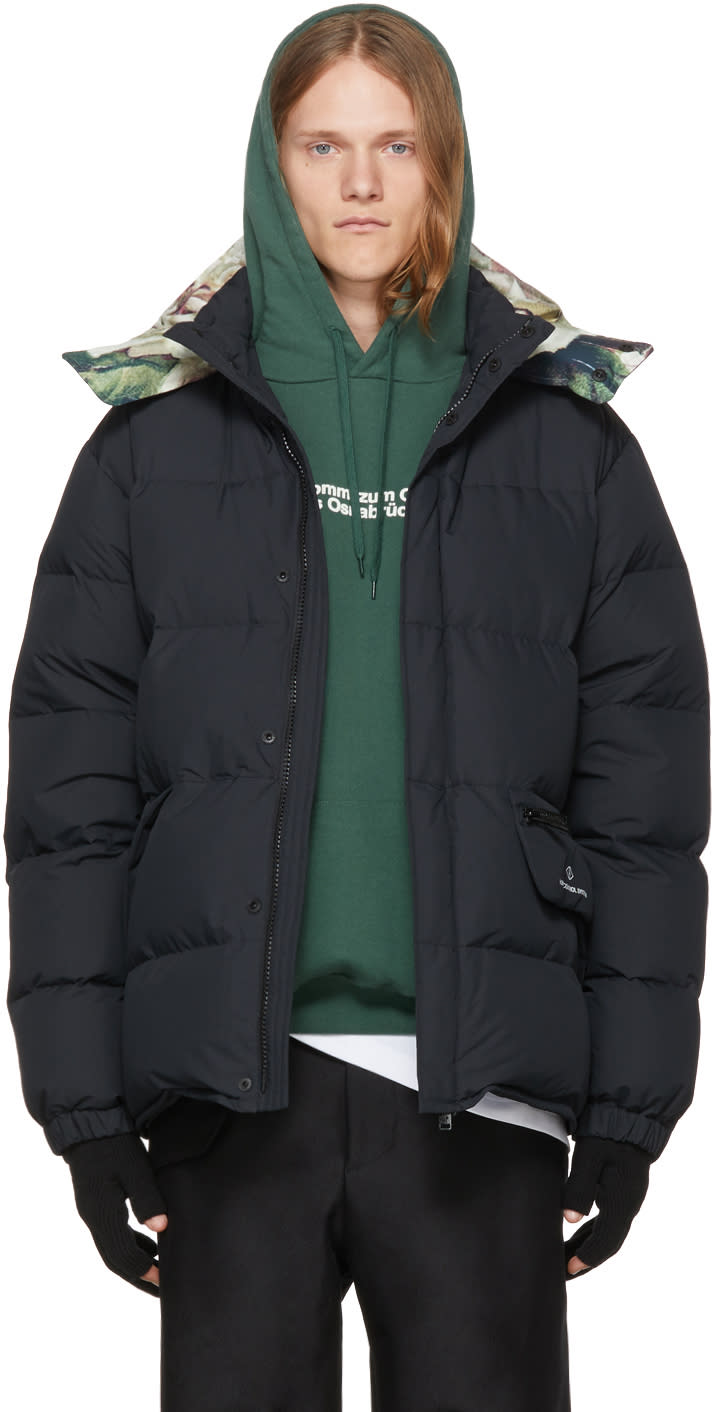 Image of Undercover Black Down human Control System Puffer Jacket