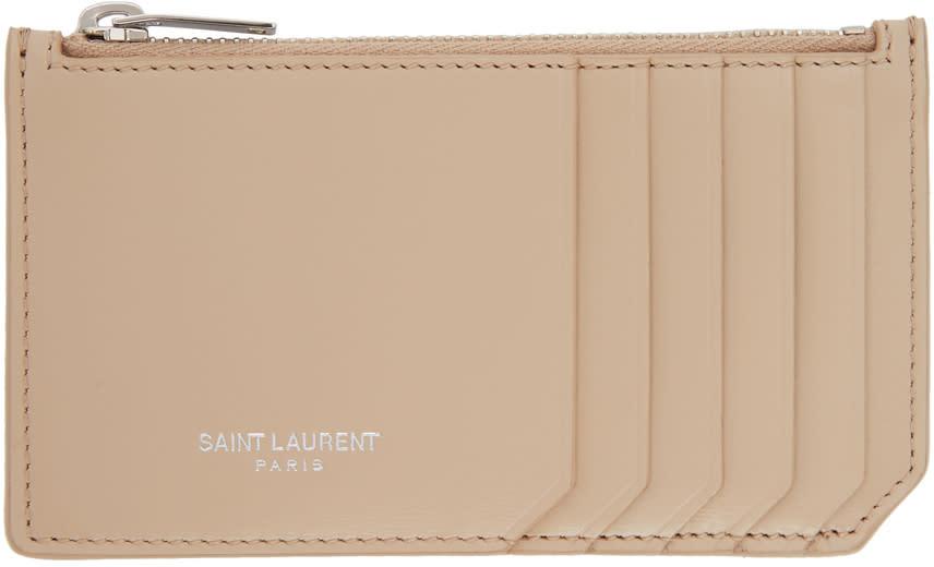 Image of Saint Laurent Beige 5 Fragments Zip Card Holder