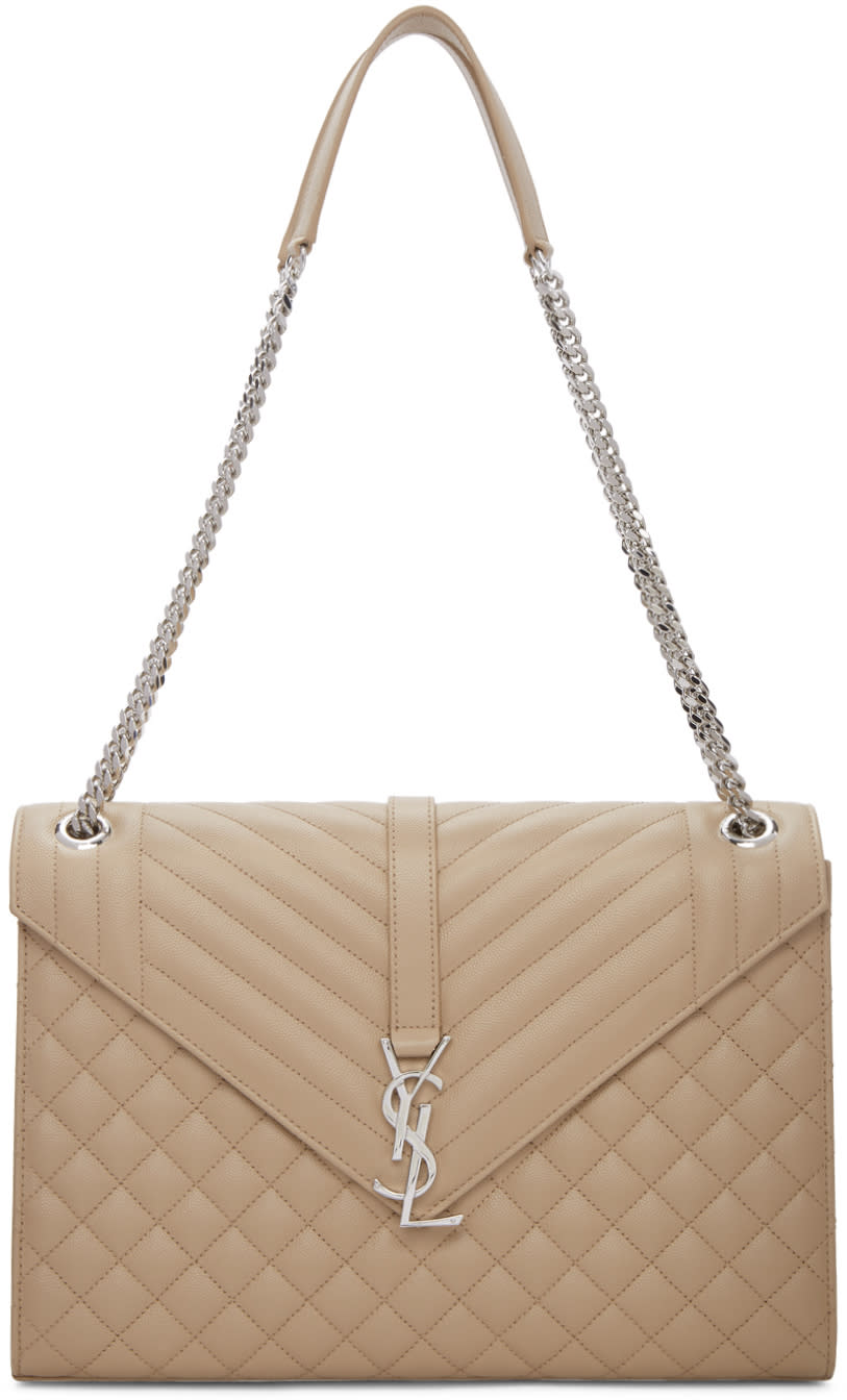 17291761d120 Saint Laurent Beige Large Monogram Envelope Chain Bag  2090.00 Quilted grain  de poudre calfskin shoulder bag in dark beige. Doubled curb chain and  calfskin ...