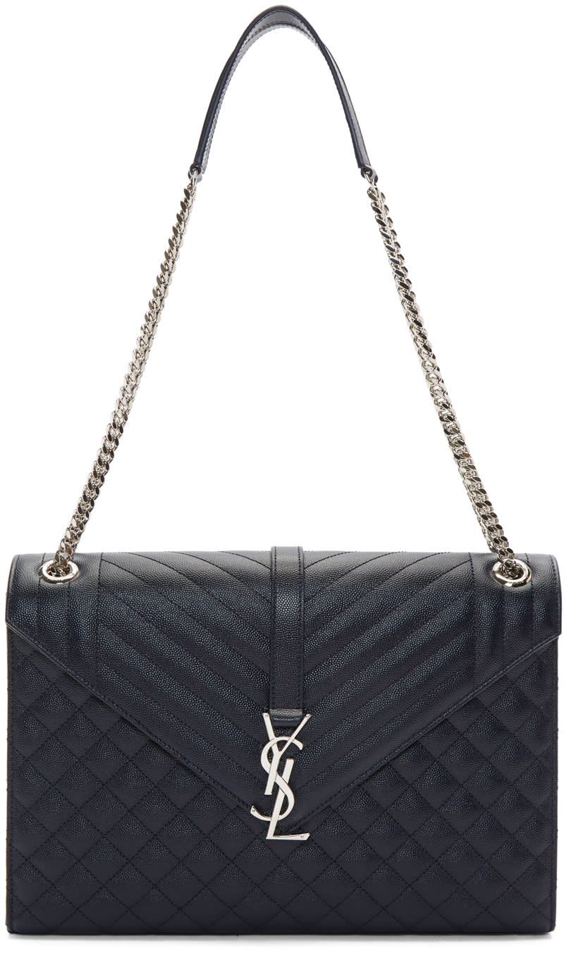 e99e86bd2e Saint Laurent Navy Large Monogram Envelope Chain Bag