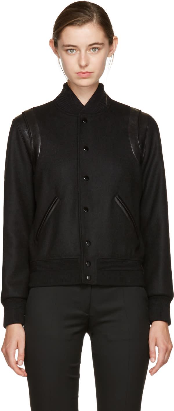 Saint Laurent Black Tonal Wool Teddy Bomber Jacket