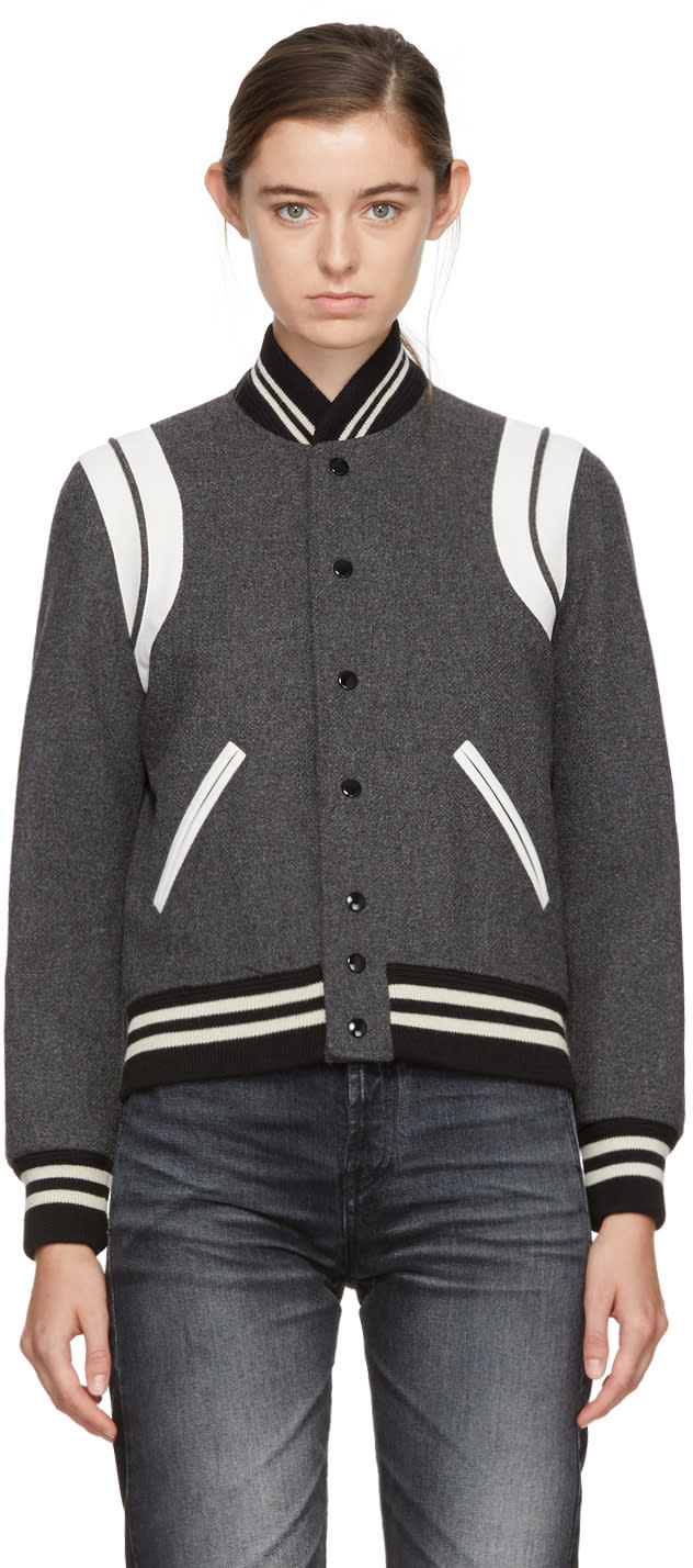 Saint Laurent Grey Wool Teddy Bomber Jacket