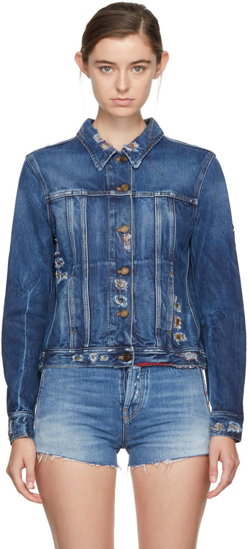Saint Laurent Blue Embroidered Denim Jacket
