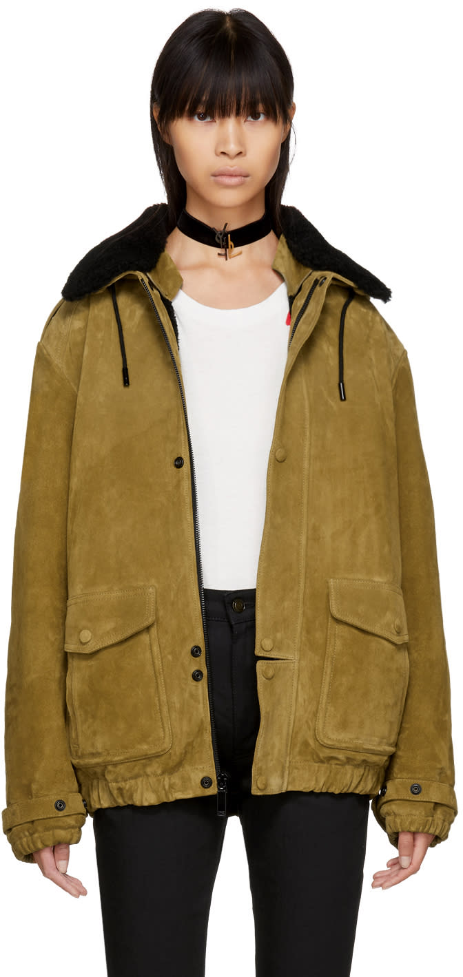 Image of Saint Laurent Tan Oversized Suede Shearling Jacket