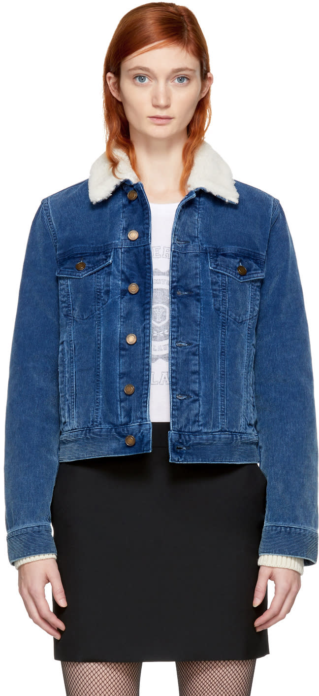 Image of Saint Laurent Blue Corduroy and Shearling Jacket