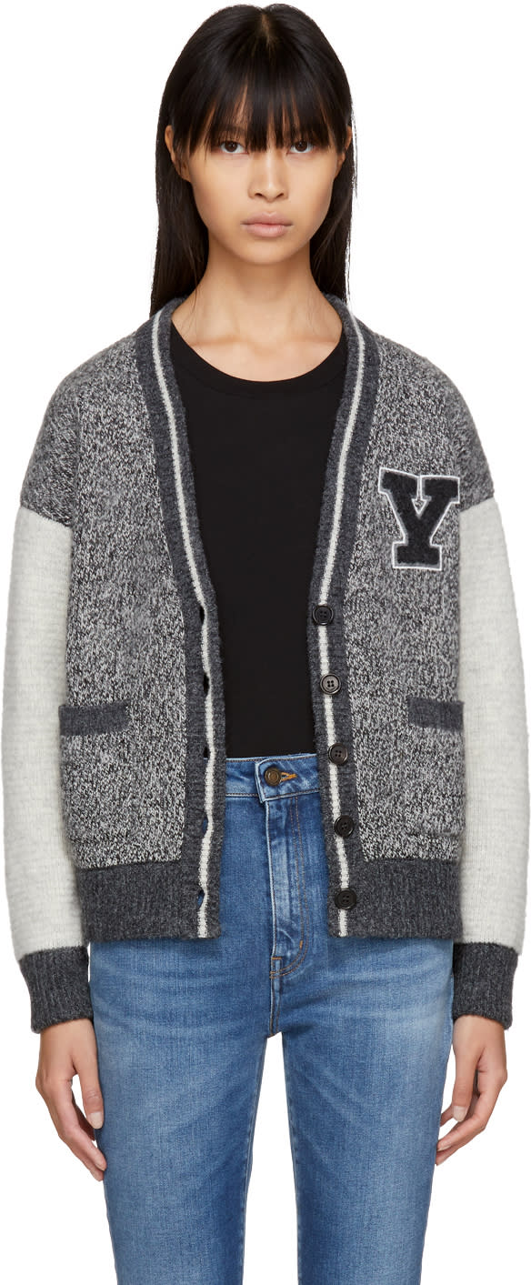 Saint Laurent Grey Multi Pattern Cardigan