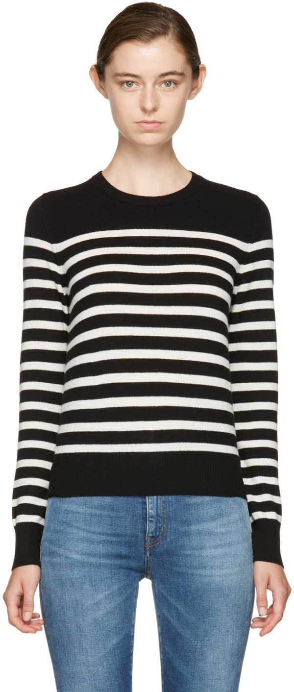 Saint Laurent Black and Ivory Cashmere Marini�re Sweater