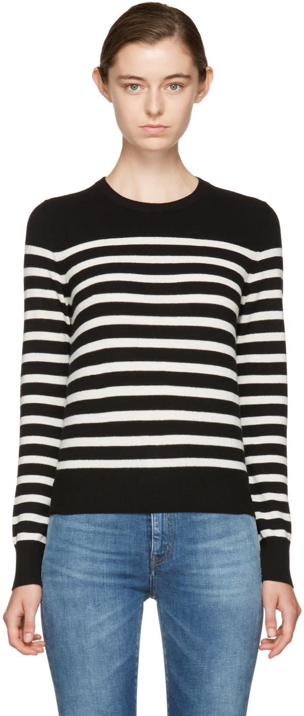 Saint Laurent Black and Ivory Cashmere Marinière Sweater