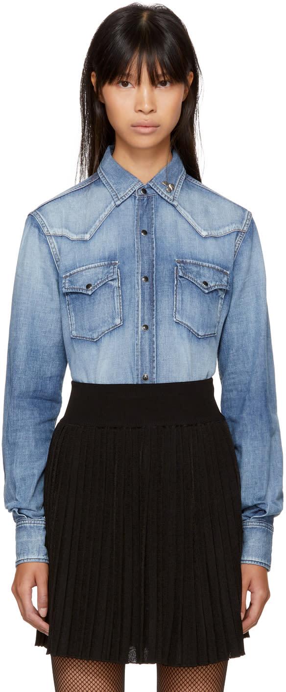 Saint Laurent Blue Denim Western Heart-studded Shirt