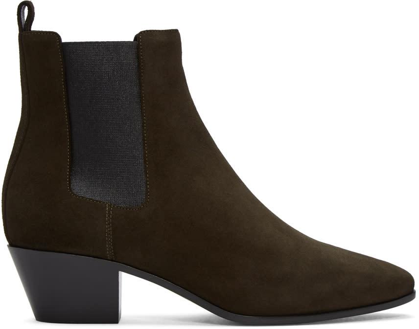 Saint Laurent Green Suede Rock Chelsea Boots