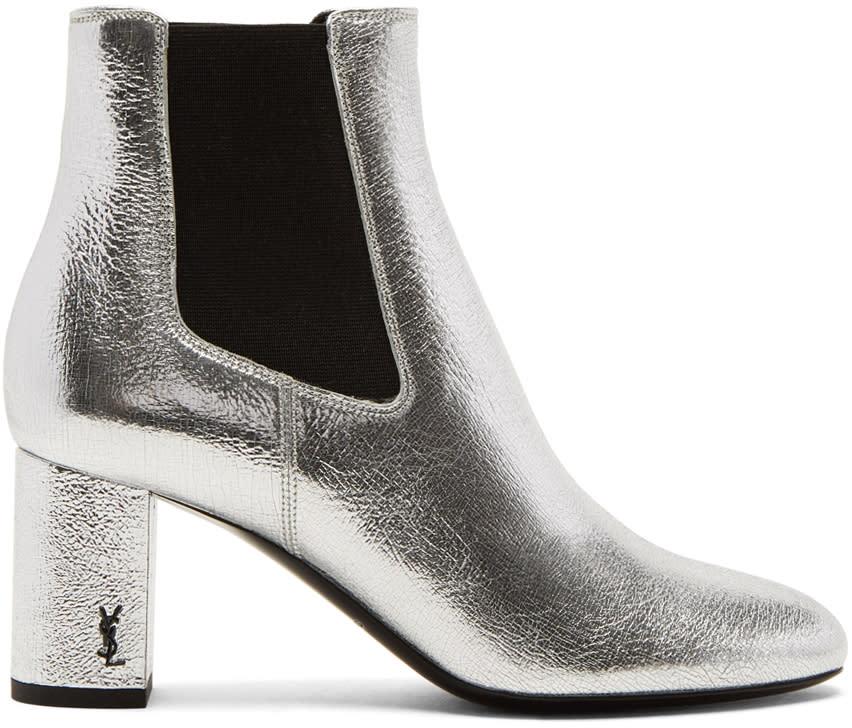 Saint Laurent Silver Loulou Chelsea Boots