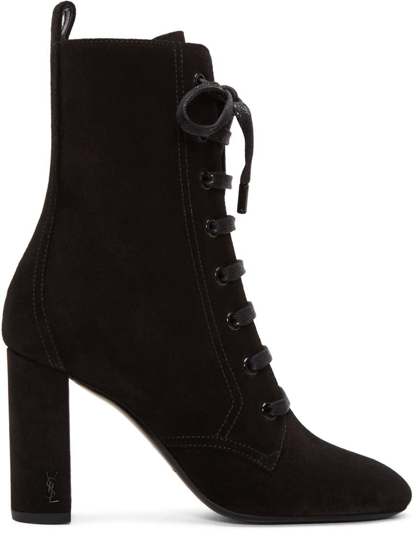 Saint Laurent Black Suede Loulou Lace-up Boots