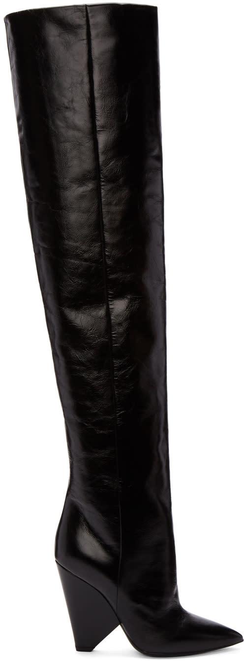 Saint-Laurent-Black-Leather-Niki-Over-the-knee-Boots