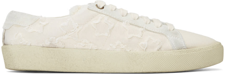 Image of Saint Laurent Beige Court Classic Sneakers