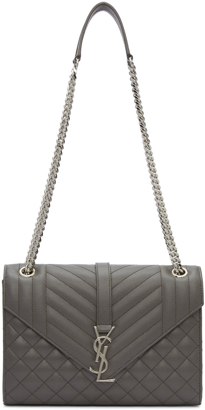 180e3d0d85a9 Saint Laurent Grey Medium Envelope Monogram Bag