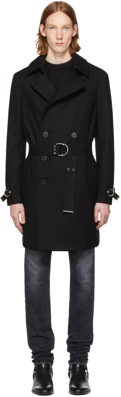 Image of Saint Laurent Black Belted Coat